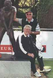 Posing beside the first tee at Wentworth in The Captains Cup 2002